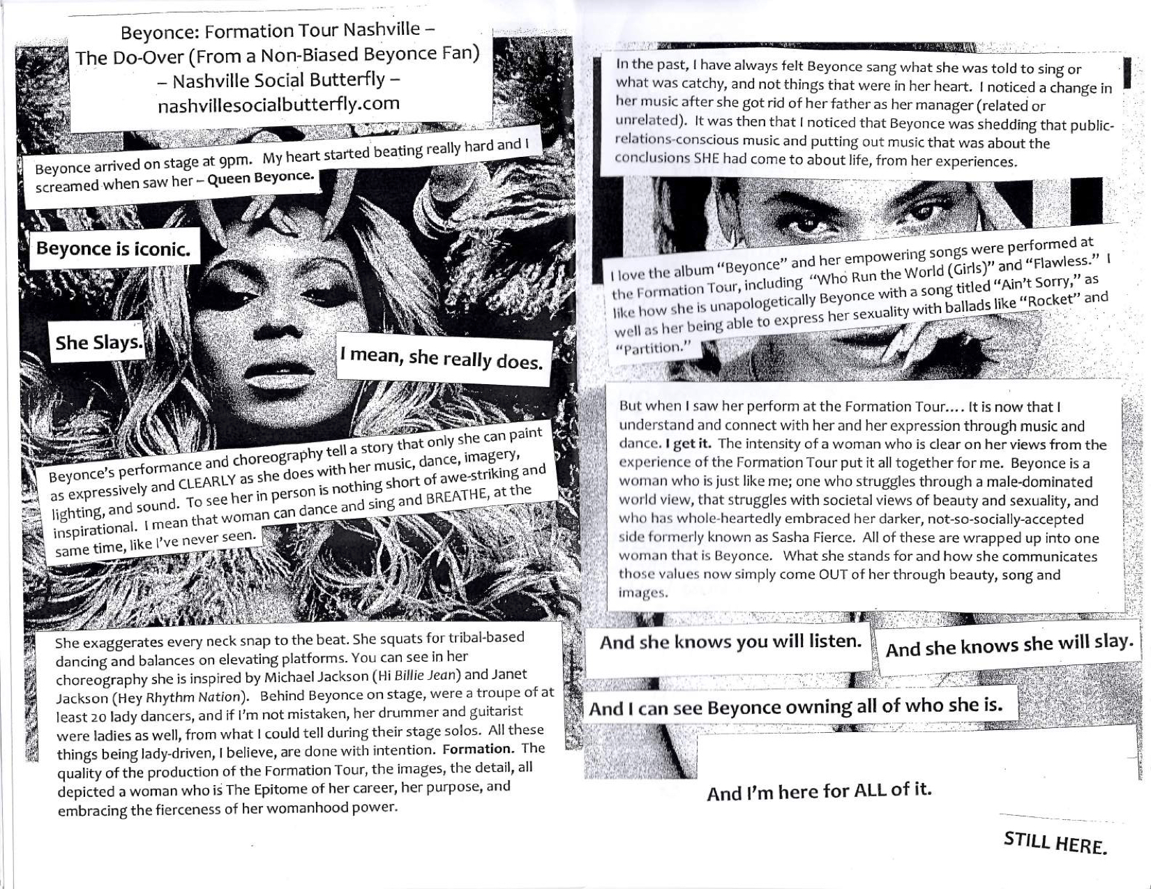Across pages 3 and 4 is a review of Beyonce's Formation tour performance in  Nashville. The background of page three is an image of pop superstar  Beyonce.
